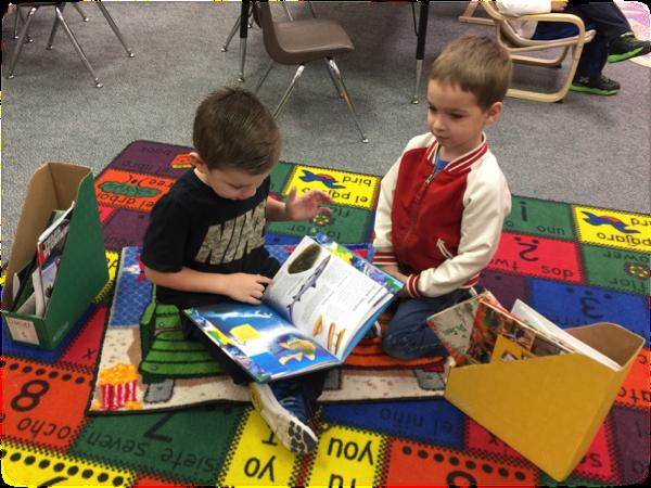 Kindergarteners Reading in the classroom