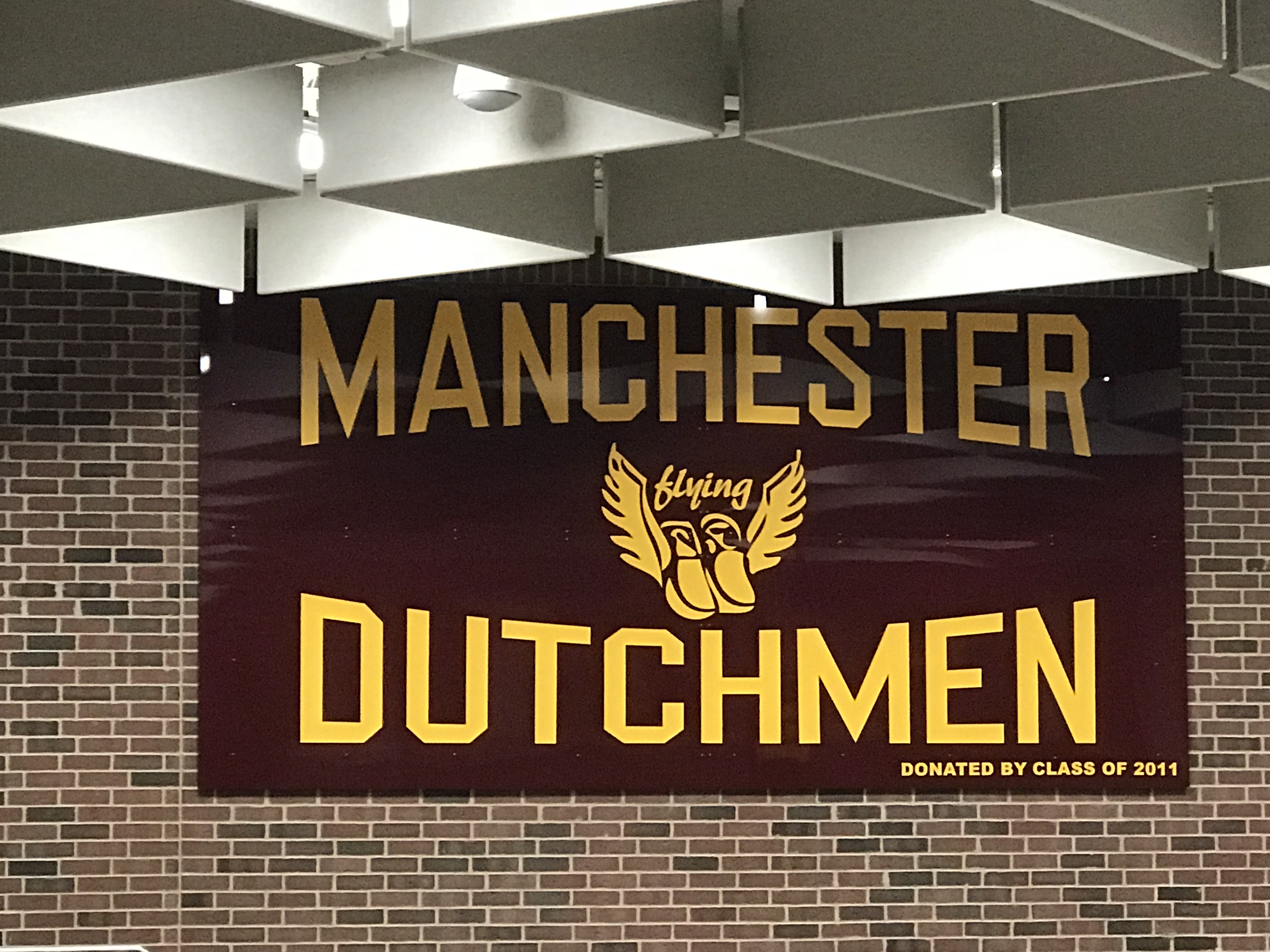 A banner reading Manchester Flying Dutchmen, donated by the class of 2011