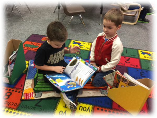 Kindergarteners Reading in the classroom