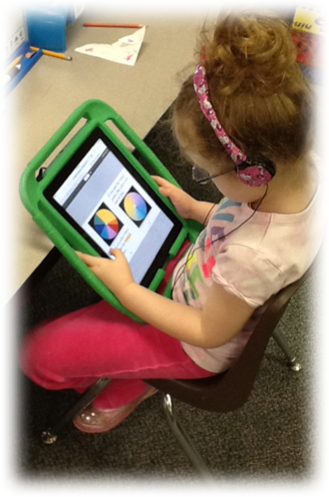 Elementary Student using an ipad in class